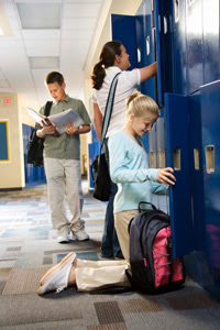 Photo: Teenage students at lockers