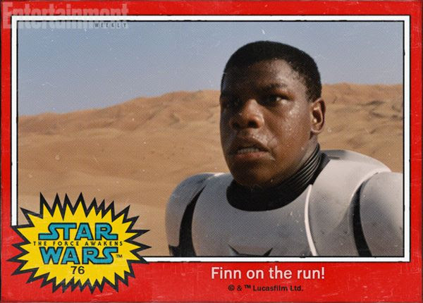 Finn (John Boyega) is on the run in STAR WARS: THE FORCE AWAKENS.