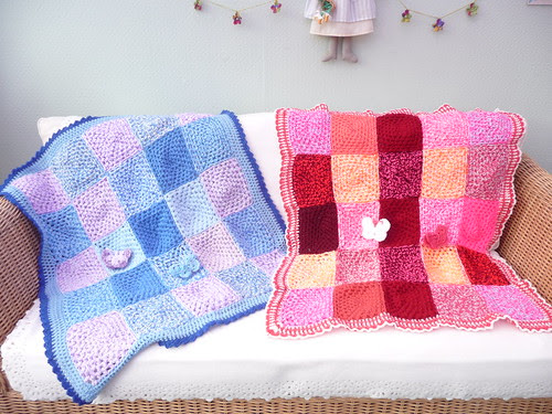Grace in her 80's at one of the homes I visit has made these Squares. pippa has assembled them into two beautiful Blankets. Thank you!