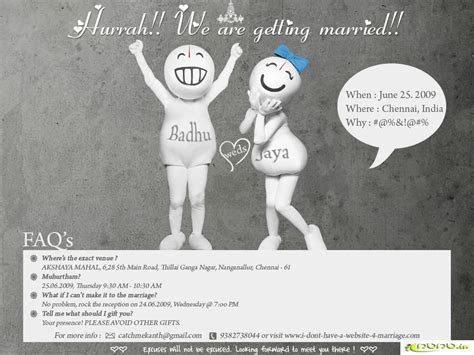 Funny wedding invitations, humorous wedding invitations
