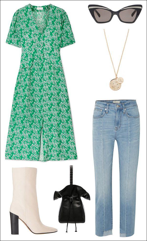 How To Dress Jeans Trend Rixo Print Dress Madewell Jeans Coin Pendant Karen Walker Cat Eye Sunglasses White Boots Phillip Lim Black Mini Bag Sprint Outfit Idea Le Fashion Blog