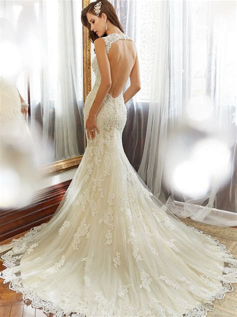 Tulle & Hand Beaded Lace Wedding Dress with Chapel Train