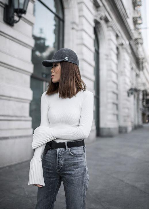 Le Fashion Blog Gray Wool Hat White Turtleneck Gray Jeans Via Tsangtastic