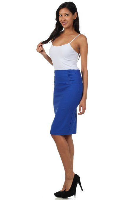 Petite High Waist Stretch Pencil Skirt with Shirred Waist Detail: Clothing