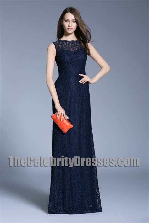 New Navy Blue Long Evening Prom Gown Lace Column Wedding