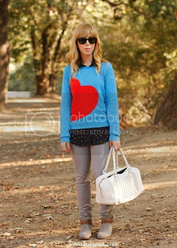 Target Mossimo heart print sweater, Rag & Bone jeans, Sonoma ankle strap boots, Los Angeles fashion blog