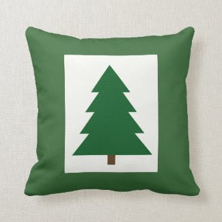 Christmas Tree Woodblock Pillows