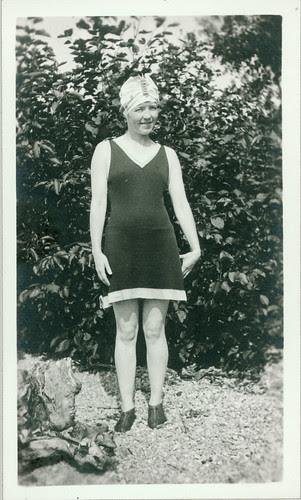 old bathing garb, woman on beach