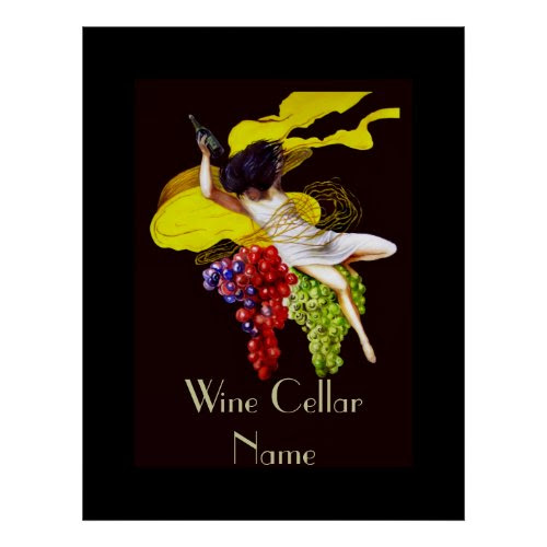 Wine Cellar Vintage Lady Poster - Personalized with Any Name