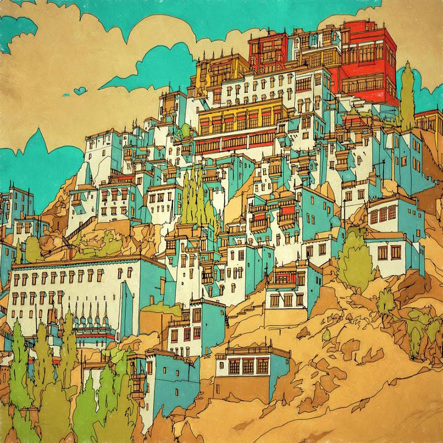 раскраски книга-взрослых-фантастические-города-Стив Макдональд-17