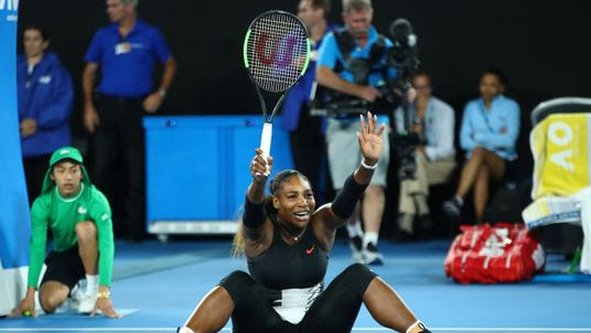 Serena Williams celebrates after beating her sister in the Australian Open final