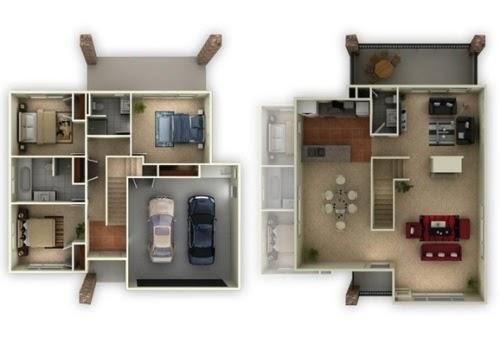 Gambar Desain Rumah Type 60 Dengan 3 Kamar Tidur - Contoh Sur