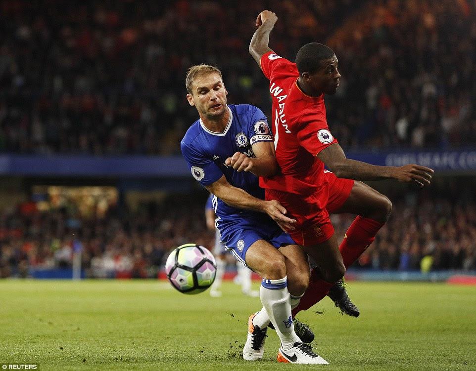 Chelsea captain Branislav Ivanovic  upends Liverpool summer signing Georginio Wijnaldum during the opening exchanges