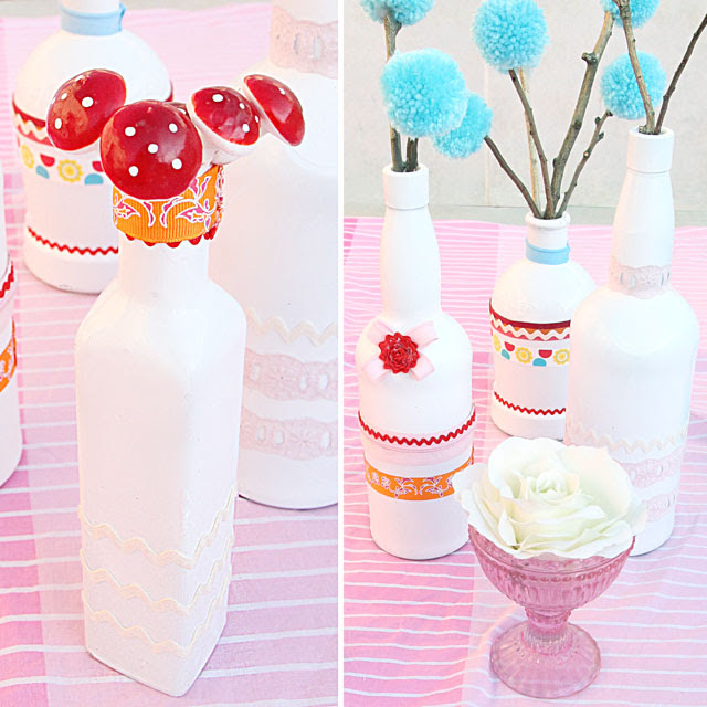 Painted Wine Bottles with ribbon Vases