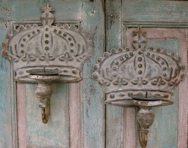 Metal Wall Crown Candle Sconces