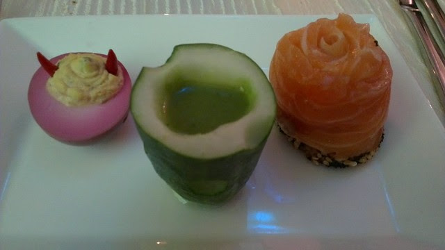 Deviled Eggs, Cucumber Shooters, Salmon Gravlox Roses