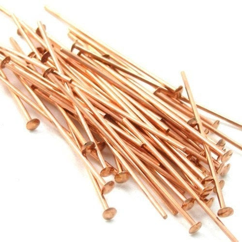 Head Pins Genuine Copper 1 Inch 22ga (50) FI113 - mksupplies
