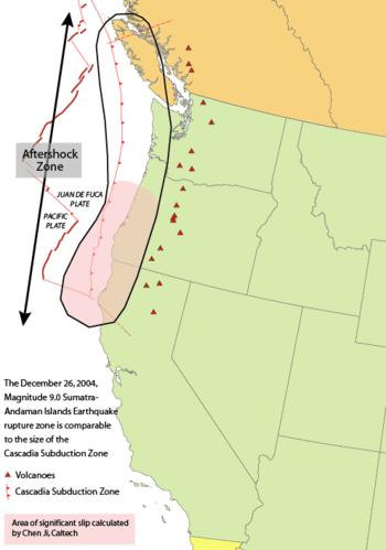 Area of the Cascadia subduction zone, includin...