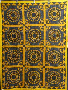 Sunburst quilt, c. 1885, black and cheddar.  John Sauls, dealer, posted by Karen B. Alexander