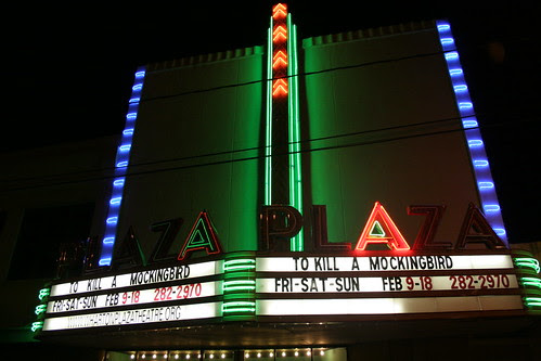 plaza theater marquee at night