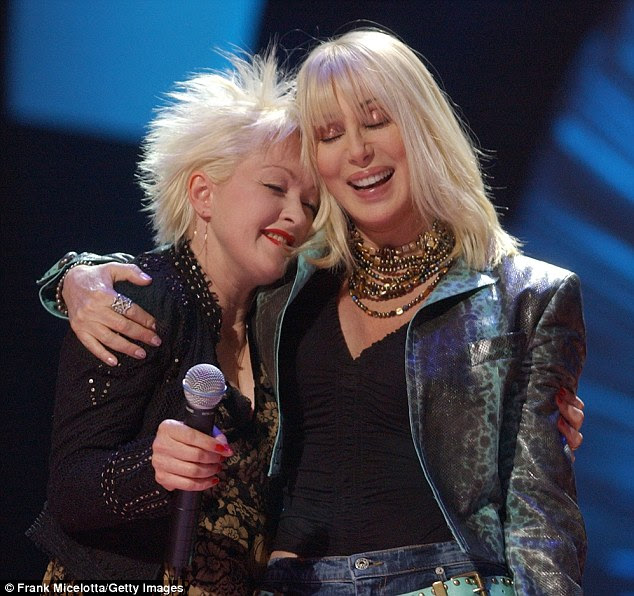 Cyndi Lauper and Cher in 2002 at VH-1's 'Divas Las Vegas' concert, during which they performed Cher's 'If I Could Turn Back Time' together.
