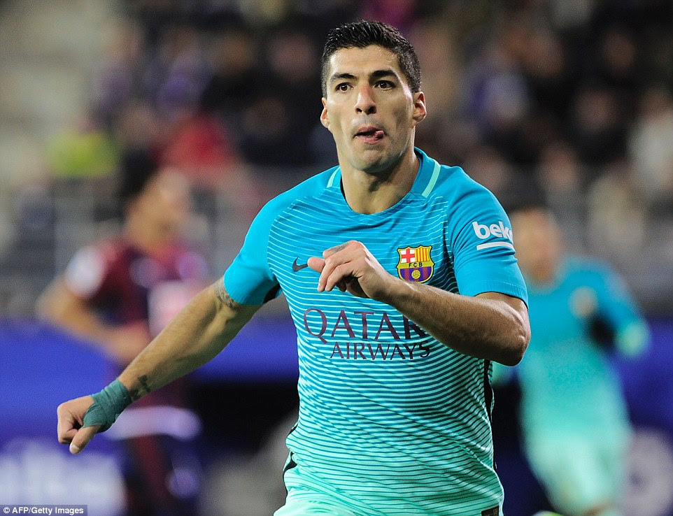 Suarez netted a third goal for Barcelona with a neat finish in the 68th minute of the La Liga encounter