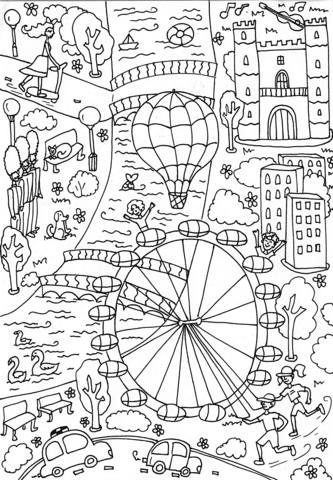 Coloriage London Eye Coloriages à Imprimer Gratuits