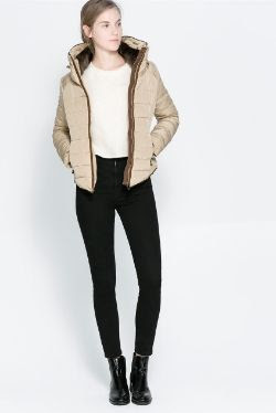 Zara Combination Fur Puffer Jacket