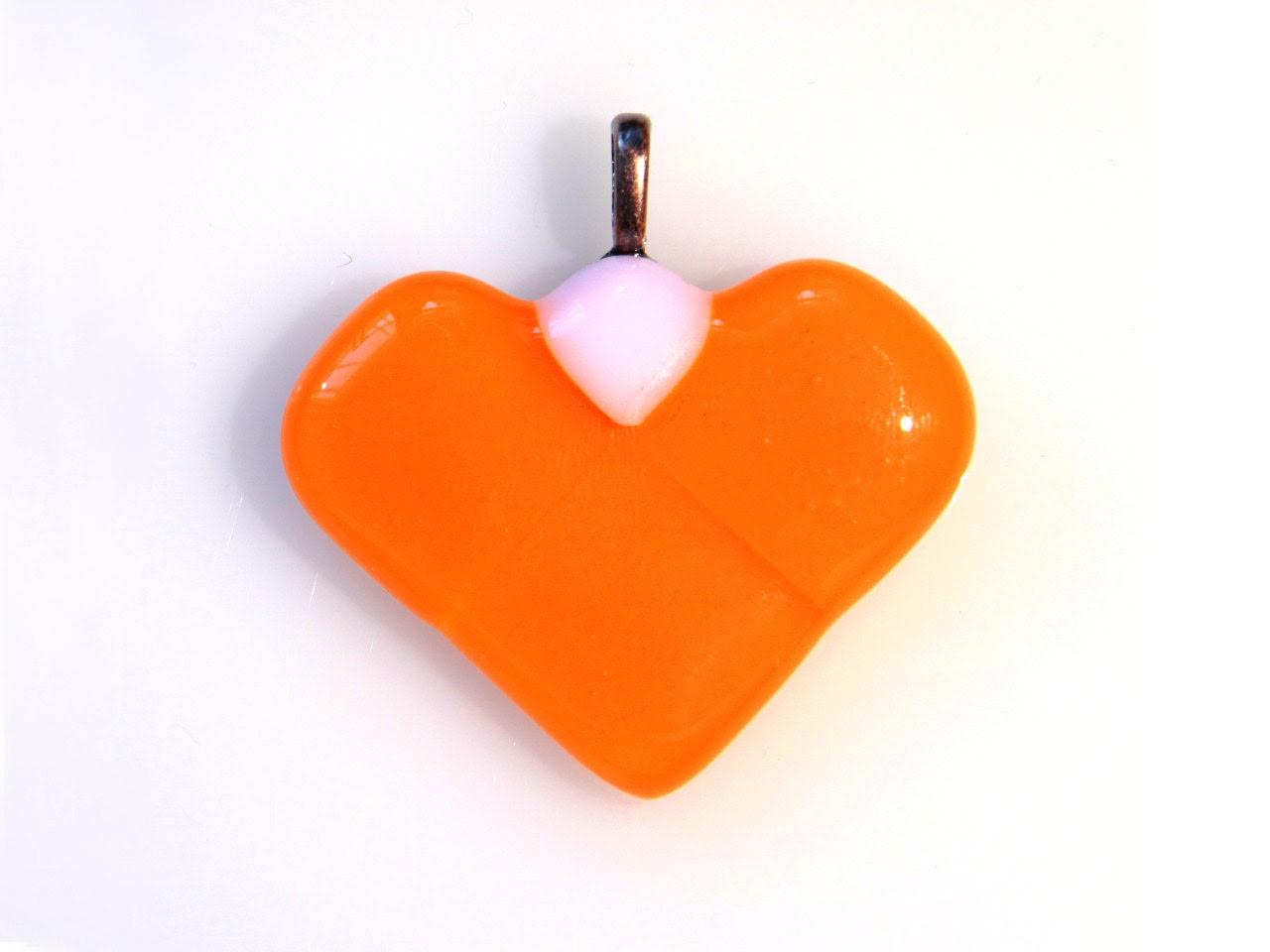 Tangerine Pendant - Casual Style - Fused Glass - Heart Shape - Tangerine White Pink - LapintiiraArtShop