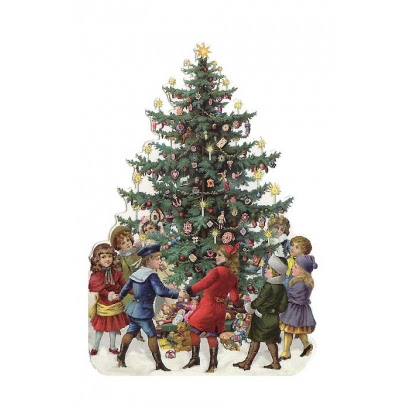 Children with Christmas Tree Die Cut Card ~ Germany