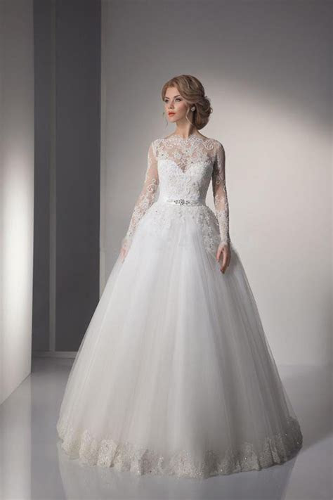 Sexy Lace ball gown Wedding Dresses 2015 long sleeve