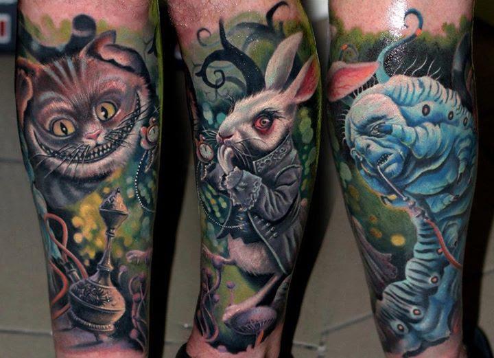 Cheshire Cat And Rabbit Leg Tattoos Tattoomagz