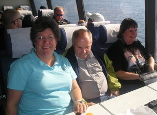 Sheila, Mark, and Illona on the ferry