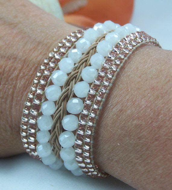 Peach & White Beaded and Braided Natural Leather Cuff Wedding Bracelet by TNine Design