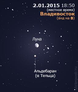 Луна вблизи Альдебарана на вечернем небе Владивостока 2 января 2015 г.