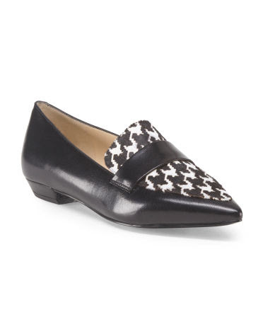 Leather Haircalf Pointy Loafer