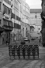 Chairs staring at the Piazza