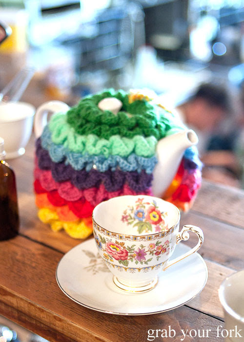 tea cup and tea cosy at in the annex cafe, forest lodge, glebe