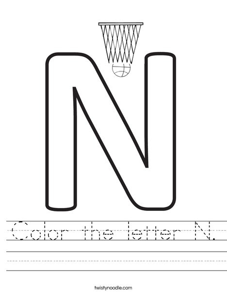 Color the letter N Worksheet - Twisty Noodle