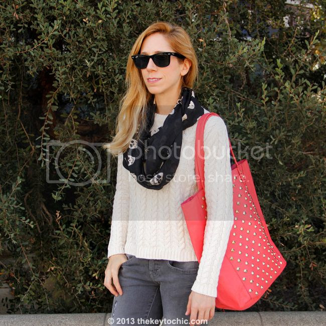 Cotton On cable knit sweater, Mossimo gray skinny jeans, Charlotte Russe skull infinity scarf, and Charlotte Russe coral studded tote bag