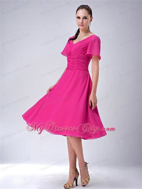 Fuchsia A line V neck Tea length Chiffon Mothers Dresses