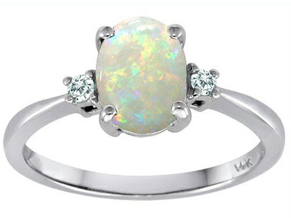 Tommaso Design Genuine 8x6mm Oval Opal and Diamond 3 stone Engagement Ring Size 5