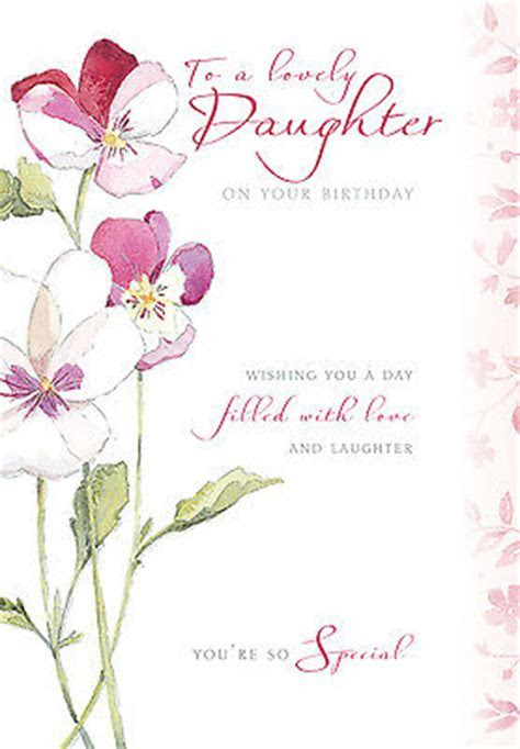 DAUGHTER HAPPY BIRTHDAY CARD FLOWER   PANSY DESIGN SIZE 9