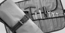 Canvass and leather tool roll
