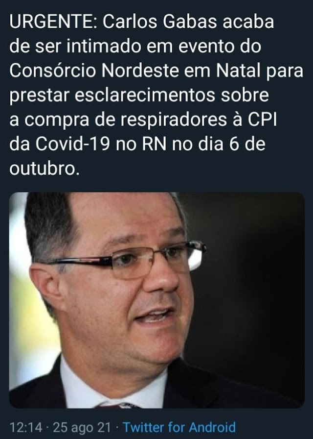 Carlos Gabas será intimado a depor na CPI da Covid