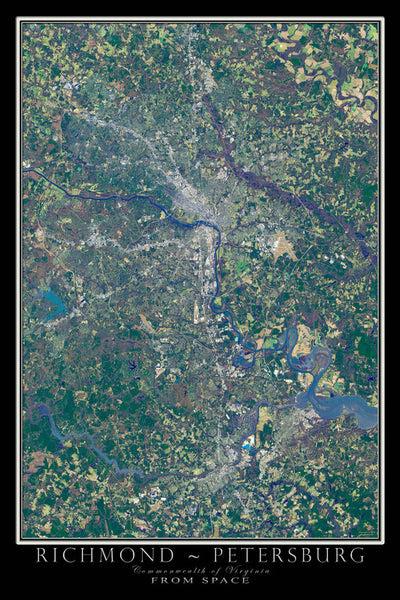 Richmond Petersburg Virginia Satellite Poster Map Aerial