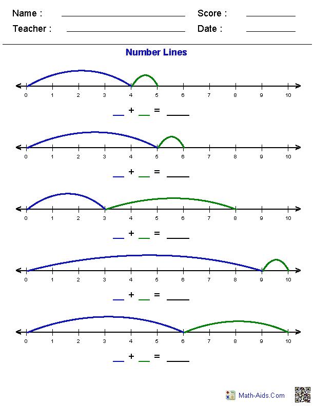 number lines worksheets