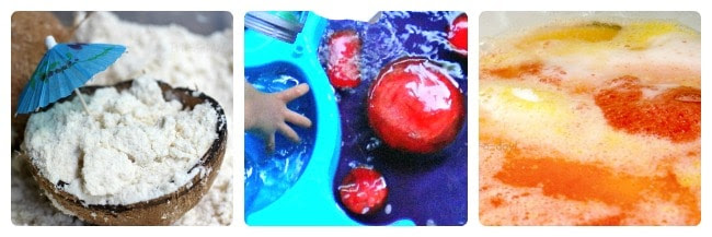 coconut cloud dough, colored ice, and scented color mixing are a few FUN taste safe sensory activities for toddlers