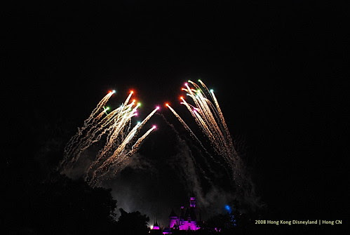 Fireworks at Hong Kong Disneyland