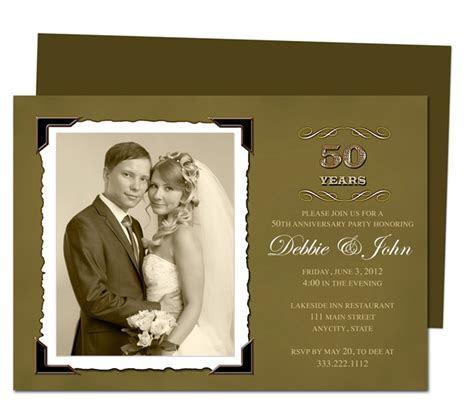 Wedding Anniverary Invitation Templates : Vintage Golden